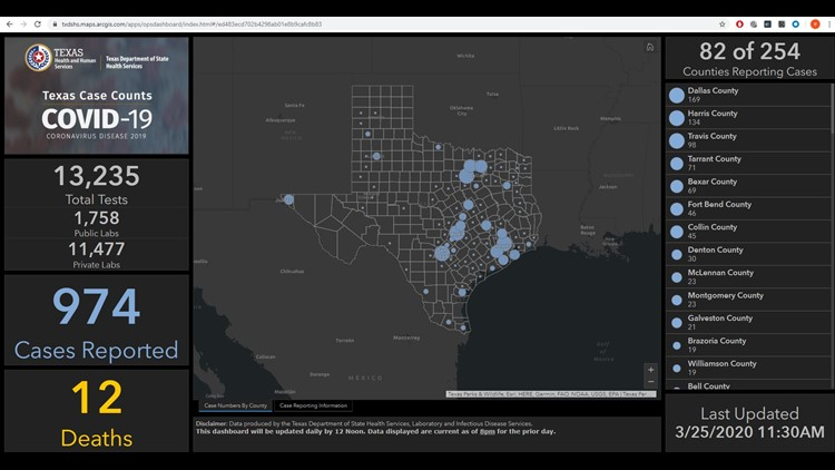 This interactive map shows you where coronavirus cases are in Texas