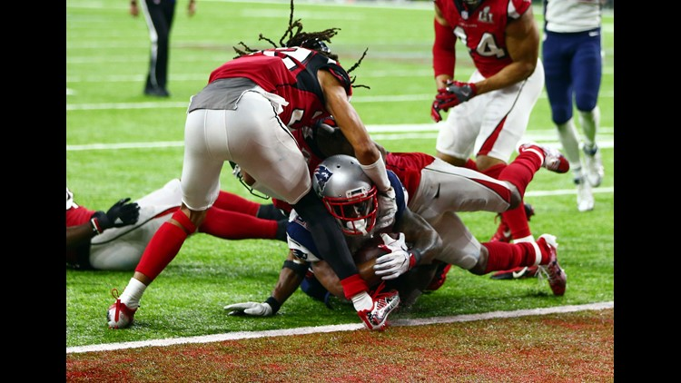 Feb. 5: New England Patriots running back James White scores the game-winning touchdown in overtime of Super Bowl LI against the Atlanta Falcons. The score capped the Patriots' comeback from a 28-3 deficit.