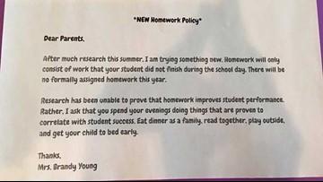 Teacher's letter on homework policy goes viral