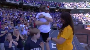 WATCH | Military father has tearful reunion with family at Milwaukee Brewers baseball game